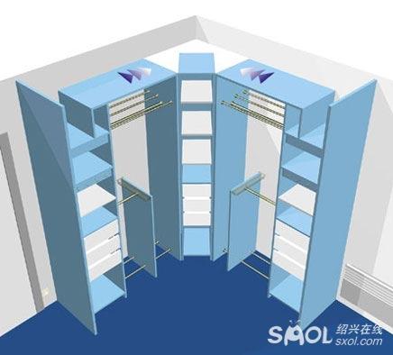 打开整体衣柜的内部结构